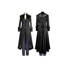 Phantom Gothic Corset Victorian Jacket Coat - Black by Chic Star PLUS... ($89) ❤ liked on Polyvore featuring outerwear, coats, gothic coat, plus size coats, women's plus size coats, victorian coat and goth coat