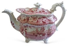 Early English Red Transferware Teapot