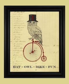 Owl Riding a Bicycle Poster Vintage High by TheSpottedBlackbird