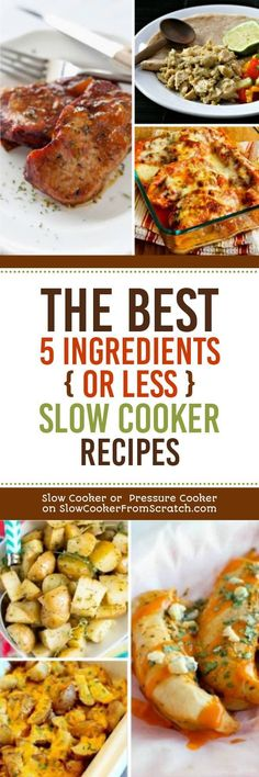Life is BUSY, and getting a collection of easy slow cooker recipes can really help, so here are our pick for The BEST 5 Ingredients or Less Slow Cooker Recipes! You're welcome! [found on Slow Cooker or Pressure Cooker at SlowCookerFromScratch.com] #SlowCooker #CrockPot #EasySlowCooker #5IngredientSlowCooker #5Ingredient