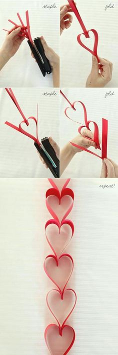 DIY Home Decor Ideas for Valentine& Day - Paper Garland - .- DIY Home Decor Ideen zum Valentinstag – Paper Garland – DIY Home Decor Ideas for Valentine& Day – Paper Garland – # decor - Kids Crafts, Crafts To Make, Kids Diy, Valentines Crafts For Preschoolers, Creative Crafts, Creative Art, Valentines Day Decorations, Valentine Day Crafts, Wedding Decorations