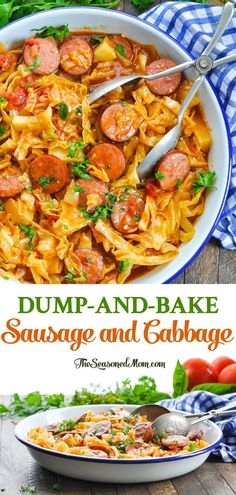 Just 10 minutes of prep for this Dump and Bake Sausage and Cabbage dinner — an easy one pot meal for busy nights! Just 10 minutes of prep for this Dump and Bake Sausage and Cabbage dinner — an easy one pot meal for busy nights! Easy One Pot Meals, Quick Meals, Easy Dinner Recipes, Sausage Recipes For Dinner, Paleo Sausage Recipes, Skillet Recipes, Meals For One, Easy Recipes, Pork Recipes