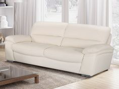 Canapé 3 places en cuir de buffle SILVESTER - Blanc Home Furniture, Love Seat, Interior, Couches, Home Decor, Products, Modern Living Room Furniture, Living Room Modern, Living Room Playroom