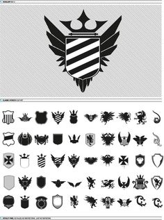 i dont see anything specific, but wondering if you like this style  Modern style heraldry elements