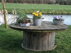 pallet cable reel outdoor table idea