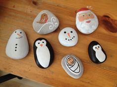 Kids Christmas craft painted pebbles rocks snowman penguin robin x