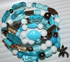 Memory wire bracelet aqua bracelet by DakotaDesignsbyVicki on Etsy