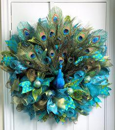 Peacock Deco Mesh, Peacock Wreath, Peacock Feathers, Peacock Ornaments, Peacock Decor, Door Decoration, Teal Wreath, Year Round Wreath, Mesh by armygurlwreaths on Etsy