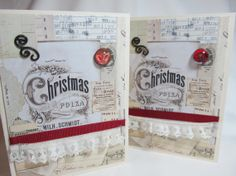 Handmade Card - Christmas Card - Vintage Style Card - Victorian Flair - Black and Ivory - Blank Card - Red Accent