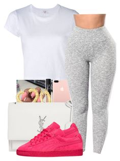 """Pop of Color"" by shawtyhilfiger on Polyvore featuring RE/DONE, NARS Cosmetics, Yves Saint Laurent and Puma"