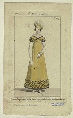 """Turban de crêpe garni de jais, robe de crêpe garnie de crevás de satin bordés de jais."" Costume Parisien, 1818"