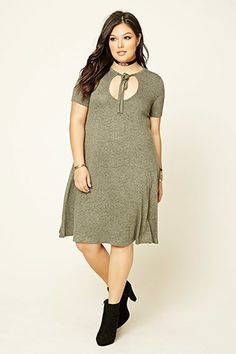 Plus Size Marled T-Shirt Dress Forever 21 Less than $20! Great with a little black bomber jacket♡♡