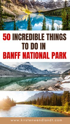 If you're planning a trip to beautiful Banff National Park in Alberta, Canada don't miss this guide of 50 best things to do while you're there. From the best hikes to tourist attractions, restaurants, lakes, and everything in between this guide has you covered! America And Canada, North America, Banff National Park, National Parks, Alberta Canada, Banff Alberta, Places To Travel, Travel Destinations, Hiking Photography
