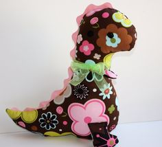 Girly Chocolate Brown and Pink Dinosaur Valentine's Day