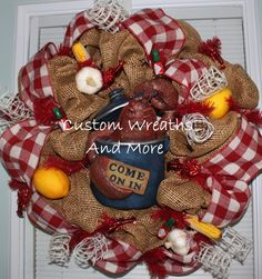 RESERVED- Custom Ordered - Crawfish mesh Wreath just in time for the Breaux Bridge Crawfish Festival. $95.00, via Etsy.