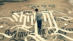 Athen-based designer, calligrapher and street artist Simon Silaidis has created a stunning piece of cross-cultural calligraphy art on the roof. Typography Served, Vintage Typography, Typography Letters, Typography Design, Beautiful Lettering, Beautiful Calligraphy, Modern Calligraphy, Graffiti, Street Art Utopia