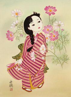 子供イラスト 童女画 大正ろまん 和風レトロ こすもす [Kisho Tsukuda] ...♥♥..♥♥ Flowers ...[]...