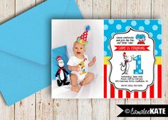 Dr. Seuss Birthday Party - Printable invitation - Cat in the Hat - Thing 1 & Thing 2 - Red, white, yellow, & aqua blue - Photo Invitation - Twins birthday ideas - stripes - polka dots - custom digital file - etsy.com - 1st Birthday - Boy or Girl Party