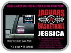 JAGUARS BASKETBALL Decal - Personalize With Your School or Team Name, Your Name, Your Number and CHOICE of Colors for no additional charge by ReeseLaurenCouture on Etsy