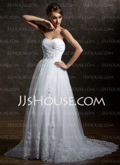 Wedding Dresses - A-Line/Princess Sweetheart Sweep Train Taffeta  Tulle Wedding Dresses With Ruffle  Beadwork