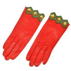 Vintage Hermes Paris Red Leather Gloves