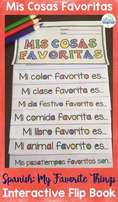 My Favorite Things Spanish flip book Mis Cosas Favoritas Flip Book. Get your Spanish students thinking about their favorite things with this Spanish sentence starter flip book. This can stand alone or be added to an interactive notebook. Spanish Sentences, Spanish Vocabulary, Spanish Language Learning, Teaching Spanish, Teaching French, Spanish Classroom Activities, Preschool Spanish, Bilingual Classroom, Elementary Spanish Classroom