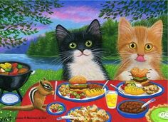 Kittens cats Thanksgiving dinner garden lamps evening original aceo painting art #Realism