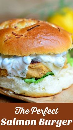 The Perfect Salmon Burger. Delicious salmon patty served on an onion roll, with picked, cheese and topped with caper dill sauce! Salmon Burgers Canned, Salmon Burger Toppings, Healthy Salmon Burgers, Sushi Burger, Salmon Sandwich, Sauce For Salmon Burgers, Cheese Burger, Salmon Salad, Salmon Recipes