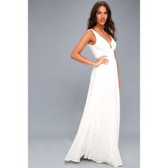 Lulus  Leading Role White Maxi Dress ($89) ❤ liked on Polyvore featuring dresses, white, drape maxi dress, white floor length dress, maxi dresses, white maxi dress and white fitted dress