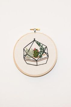 """Koe-Zee succulent terrarium embroidery framed in 5.5""""wooden embroidery hoop. HANDMADE IN SEATTLE, WA PIPE AND ROW"""