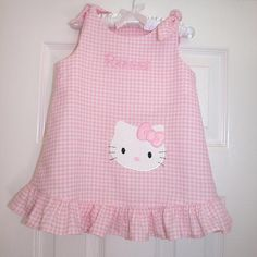 Pink Gingham Hello Kitty Tie Jumper by sewsosweetboutique on Etsy, $48.00