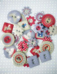 Pack of 30x Mixed Shapes Hello Sailor Chipboard Buttons £3.25