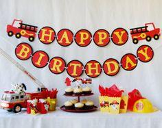 Sound the Alarm Firetruck Birthday Banner by PinwheelLane on Etsy