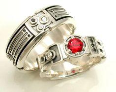 Light Saber Engagement Ring Set - Darth Vader His and Hers Star Wars Wedding - Sterling Silver