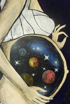 To me, this symbolizes the womb of Mary. A spiritual glimpse of Jesus. He basically IS the universe in a sense... Creator entering Creation. This image is right on the money.