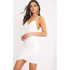 Pascala White Double Strap Bodycon Dress featuring polyvore women's fashion clothing dresses white white dress ruched dress body con dresses strappy bodycon dress ruching dress