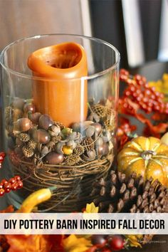 Simple and Inexpensive DIY Pottery Barn Inspired Fall Decor.  Tutorial at http://livelaughrowe.com