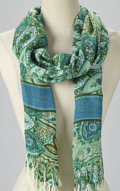 Teal Paisley Scarf