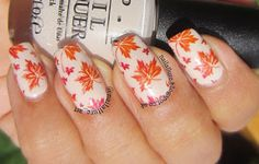 Autumn Leaves Manicure http://nailallure.blogspot.co.uk/2015/11/opi-be-there-in-prosecco-autumn-leaves.html #manicure #nailart #nailartstamping #opi #opinailpolish #bornpretty #bp-19 #KleanColor #fallnails