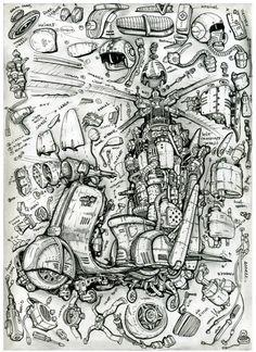 Scotercopter. Мотороллер-вертолет.Автор Алексей Любимов. Кит комплект для превращения мотороллера в вертолет. Описание и необходимый комплект деталей. Каждый сможет летать.kit to transform a scooter into a helicopter.Heaven for everyone. Зарисовки капиллярной ручкой. А4. Стимпанк. Дизельпанк. Киберпанк. Биомеханика. Сюрреализм. Dieselpunk. Steampunk. Capillarypen. Flytown. Biomechanical. Lighthouses. Pencildrawing . Pendrawing. Skytower. Surrealism. T-Shirts print.