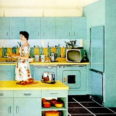 love the retro blue and yellow kitchen! Vintage Interior Design, Vintage Interiors, Mid Century Decor, Mid Century House, Vintage Room, Retro Vintage, Vintage Homes, Vintage Stuff, Vintage Barbie