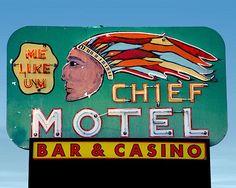 Chief Motel Bar & Casino Neon Sign • Shoshone, Idaho,