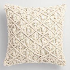 Jali Macrame Indoor Outdoor Throw Pillow - v1