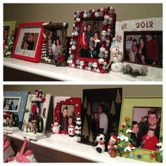 One of my favorite Christmas traditions started for us by my husband's grandmother. She bought the first frame for our annual holiday picture. Every year we take a new one and add to the display which only comes out at Christmas.