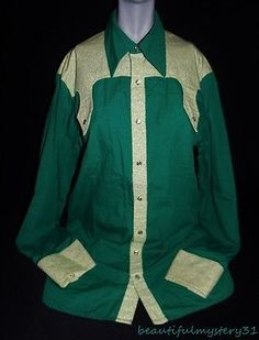 VTG HANDMADE GREEN YELLOW PEARL SNAP BUTTON FRONT RODEO COWBOY WESTERN SHIRT L