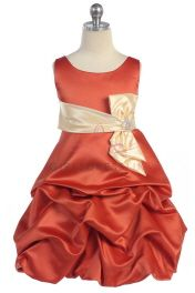 Click to enlarge : Rust/Champagne  Satin Sleeveless Pick-up Skirt Flower Girl Dress A3468-RT