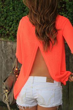 Orange Round Neck Open Back Blouse -SheIn(Sheinside) Mobile Site