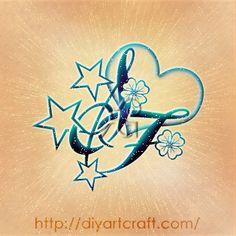 #monogram FS #tattoo heart + stars