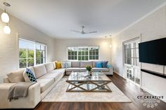 Huge comfy couch, living room ideas.  Photography by CT Creative.