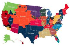 """2014 pre-season. The Most Popular NFL Team by County  On Facebook, more than 1 in every 10 users in America """"Likes"""" an NFL team. The social network has compiled this data into a map that displays fandom across all 50 states."""